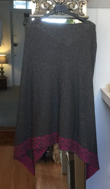 Cashmere Poncho - Leopard Trim - Charcoal & Hot Pink